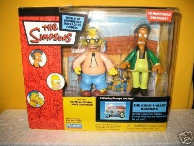 Simpsons - World of Springfield Interactive Figures - The Kwik-E-Mart Diorama featuring Grampa and Apu figures (Kwik Simpsons E-mart)