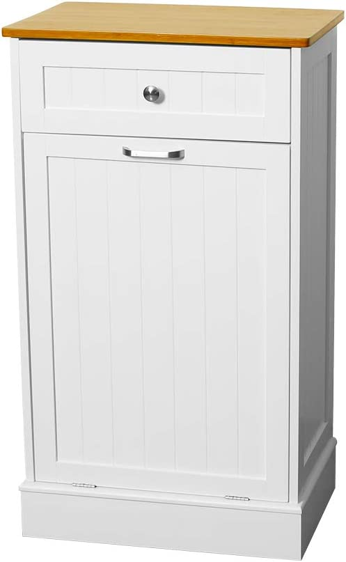 U-Eway Wooden Tilt Out Trash Cabinet Free Standing Kitchen Trash Can Holder or Recycling Cabinet with Hideaway Drawer Removable Bamboo Cutting Board,Pet Food Locker(White)