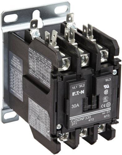 480vac Single Pole Coil Contactor (Eaton C25DNF330A Definite Purpose Contactor, 50mm, 3 Poles, Box Lugs, Quick Connect Side By Side Terminals, 30A Current Rating, 2 Max HP Single Phase at 115V, 10 Max HP Three Phase at 230V, 15 Max HP Three Phase at 480V, 120VAC Coil Voltage)