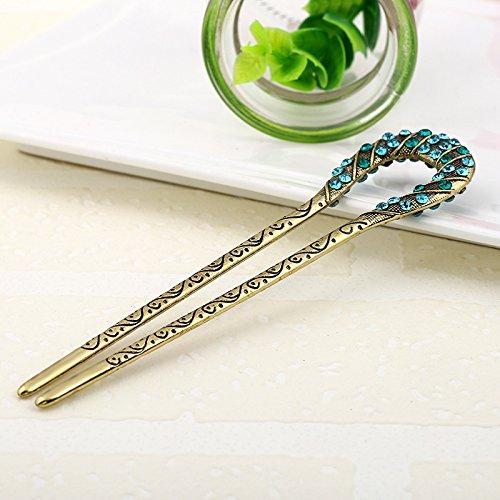 Hair Sticks Pins Jewelry (Retro Hair Jewelry Antique Bronze Plated Hairpins U shape Hair Sticks Women Rhinestone Flower Hair Accessories (BLUE))
