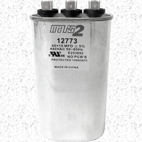 - Motor Dual Run Capacitor Oval 40 + 10 MFD uf MFD 440 Volt VAC 12773
