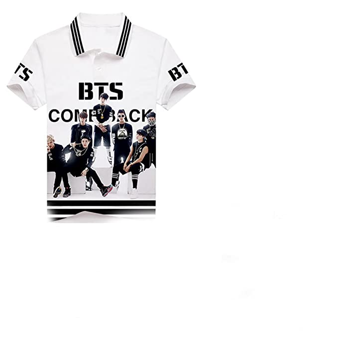 Kpop BTS POLO lapel T-Shirt Bangtan Boys Full Color Top BTS Tshirts Suga Jin