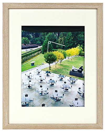 11x14 Rustic Beige Frame - Ivory Mat for 8x10 Picture - Sawtooth Hangers, Flexible Metal Tabs, Real Glass -Landscape/Portrait - Wall Mounting - Burlywood Color (11x14, Beige) ()