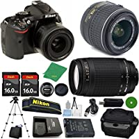Nikon D5200 DSLR - International Version (No Warranty), 18-55mm f/3.5-5.6 DX VR, Nikon 70-300mm f/4-5.6G Nikkor, 2pcs 16GB Memory, Camera Case