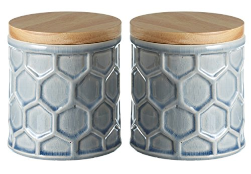Textured Stoneware Tall Honeycomb Storage Jar Canister with Wood Lid - Set of 2, Small