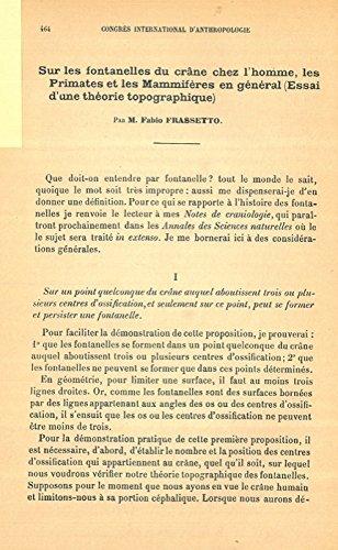 Sur les fontanelles du crane chez lhomme, les primates et les mammiferes en general (essai dune theorie topographique) . (French) Pamphlet – January 1, ...