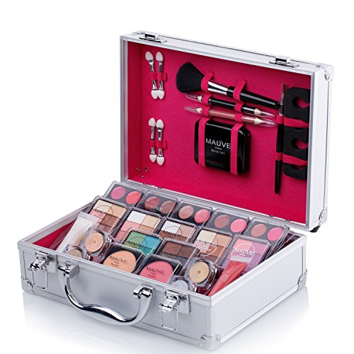 Ma ve Carry All Trunk Train Case with Makeup and Reusable Black White Aluminum Case