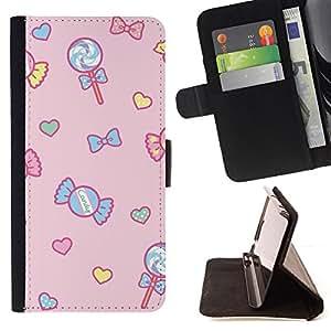 - Queen Pattern FOR Apple Iphone 5 / 5S /La identificaci????n del cr????dito ranuras para tarjetas tir????n de la caja Cartera de cuero cubie - candy lollipop heart valentines pin