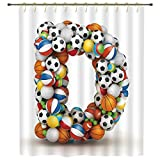 iPrint Shower Curtain,Letter D,Typescript in Sports Inspired Style Fun Game Match Play Kids Boys Children Design Decorative,Multicolor,Polyester Shower Curtains Bathroom Decor Sets with Hooks
