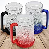 Q&T Collection Double Wall Gel Frosty Freezer Ice Mugs, 16oz Frosty Beer Mugs