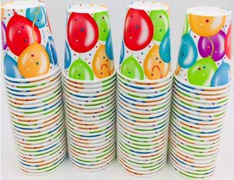 Birthday Party Paper Cups - 100-Pack Happy Birthday Logo with Assorted Balloons and Sparkles 9-ounce Paper Hot/Cold Cups for Huge Birthday Parties and Birthday Celebrations