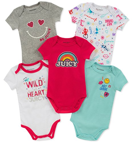 Juicy Couture Baby Girls 5 Pieces Pack Bodysuits, Pink/Green/Gray/White, 3-6 Months
