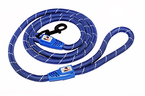 [Comfortable & Durable 6-Ft Dog Rope Blue Leash Features a Generous Hand Loop Great for Walking Running Hiking and Climbing Training Leash with Reflective Stitching For Large Medium Sized Dogs] (Recycled Material Costume)