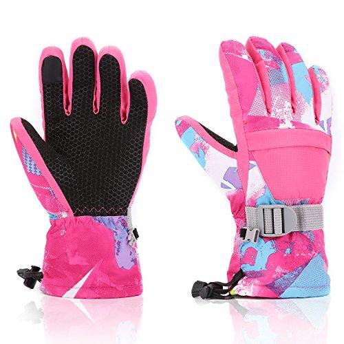 Ski Gloves, Yidomto Waterproof Warmest Winter Snow Gloves for Mens, Womens, Boys, Girls, Kids (Pink-L)
