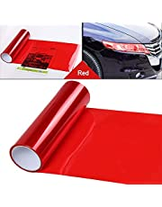 LEIWOOR 12 X 24 in Auto Car Tint Headlight Taillight Fog Light Vinyl Smoke Film Sheet Sticker Cover Automobiles Decal Car Styling (Red)