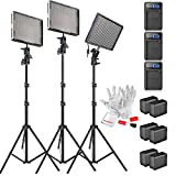 Aputure Amaran AL-528KIT(AL-528S + AL-528W2) 528 Led Video Light Panel Studio LED Lighting Kit with Light Stand, Sony NP-F960 Battery Pack and Pergear Clean Kit