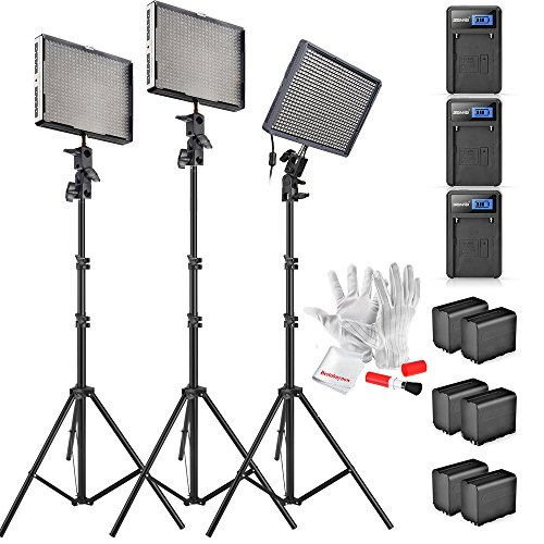 Aputure Amaran AL-528KIT(AL-528S + AL-528W2) 528 Led Video Light Panel Studio LED Lighting Kit with Light Stand, Sony NP-F960 Battery Pack and Pergear Clean Kit by Aputure
