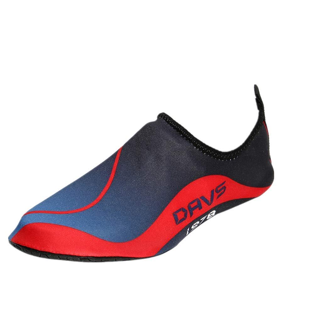 NUWFOR Men Women Beach Swim Shoes Quick-Dry Aqua Socks Surf Yoga Water Shoes Aerobics (Red, 4-4.5 M US length:8.3'')