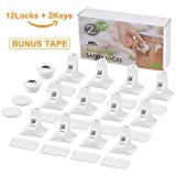 #6: Adoric Magnetic Baby Safety Latch Locks(12Locks+2Keys)- Child Toddler Proofing Kits for Drawer, Cabinet with 3M Adhesive, No Tools, Drilling Needed-White