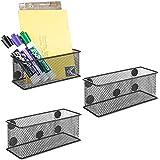 MyGift Wire Mesh Magnetic Storage Baskets, Office Supply Organizer, Set of 3, Black