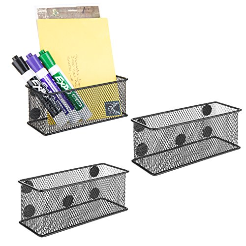 MyGift Wire Mesh Magnetic Storage Baskets, Office Supply Organizer, Set of 3, Black