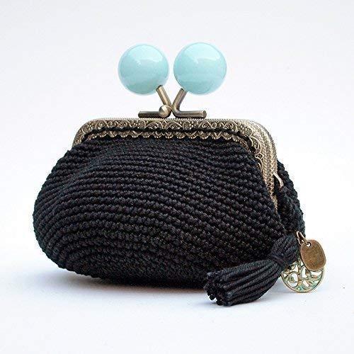 Monedero crochet negro y boquilla de bolas azules: Amazon ...
