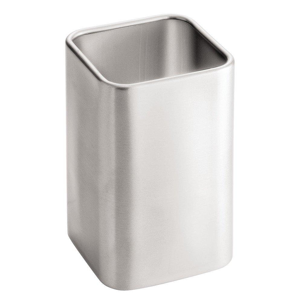 InterDesign Gia Facial Tissue Box Cover/Holder for Bathroom Vanity Countertops - Brushed Stainless Steel 16780