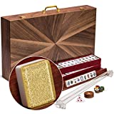 Yellow Mountain Imports American Mahjong Set, Golden Fortune - Inlaid Wooden Case - Pushers, Wooden Racks and Complete Accessories Included - Glittering Acrylic Tiles