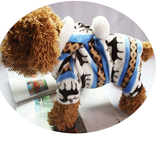 Fanatical-Night Snowflake Soft Fleece Dog Clothes Pet Dog Dress Pattern Coral Velvet Deer Christmas Puppy Coat,Blue,XXL for $<!--$14.94-->
