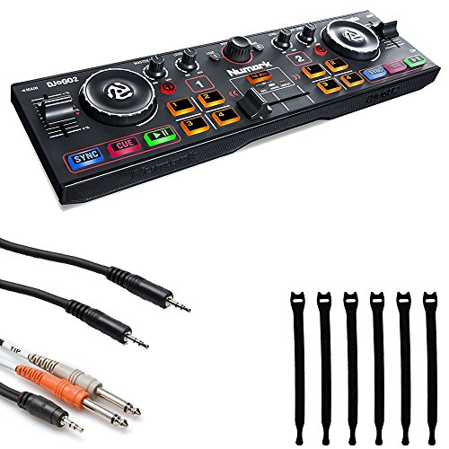 Numark DJ2GO2 | Pocket DJ Controller with Audio Interface + Stereo Interconnect Cable + TS Cable + Strapeez - Top Value Bundle
