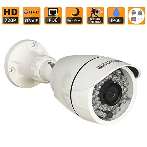 HOSAFE 1MB6P HD IP Camera POE Outdoor 1MP 1280x720P Night Vision ONVIF H.264 Motion Detection Email Alert Remote View Via Smart Phone/Tablet/PC, Working With Foscam IP Camera Software Blue Iris iSpy IP Camera DVR(White) by HOSAFE.COM