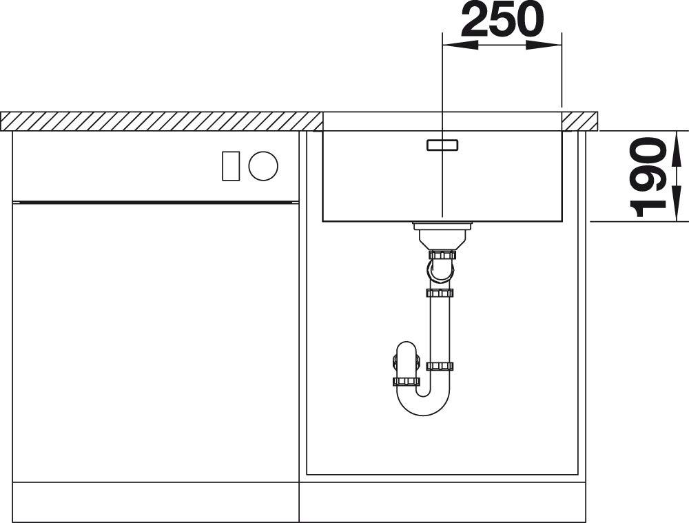 Edelstahl Seidenglanz; 522971 Blanco Andano 700-U mit InFino-Ablaufsystem Sp/ülbecken f/ür den Unterbau Unterbaubecken