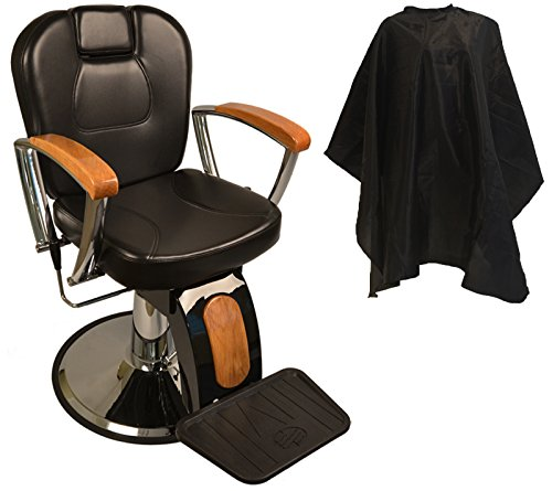 LCL Beauty Reclining Hydraulic Barber Chair With Natural Oak Wood Armrests & Wood Grain Accent by LCL Beauty