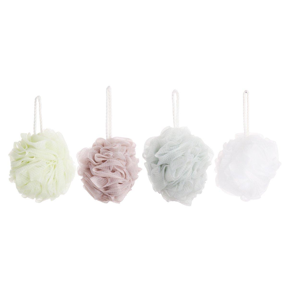 Freebily 4pcs Large Eco-friendly Exfoliating Mesh Brush Bath Ball Pouf Loofahs Bubble Shower Sponge for Men Women