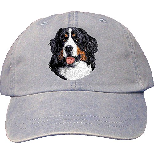 Cherrybrook Dog Breed Embroidered Adams Cotton Twill Caps - Periwinkle - Bernese Mountain Dog