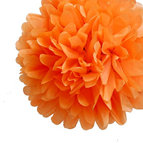 Quasimoon PaperLanternStore.com EZ-Fluff 12 Inch Orange Tissue Paper Pom Poms Flowers Balls, Decorations (4 Pack) -