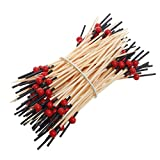 Poity Bamboo Drink Cocktail Sticks Stirrer Food Fruit Buffet Party Tableware 100 Pieces Red