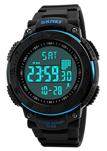 Mens Outdoor Sports Fitness Tracker Led Digital Wrist Watch with Pedometer Calories 50M Waterproof (Blue) Alarm Chrono Watch Instructions