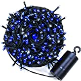 Quntis LED String Lights 300 LEDs 40M Blue and White 8 Multi-Function Indoor or Outdoor IP44 Waterproof Battery Operated String Fairy Lights