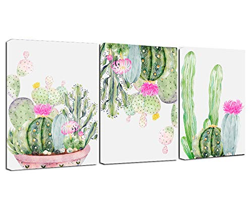 (Canvas Wall Art -Botanical Cactus Bloom Flowers Watercolor Painting Picture Canvas Print Modern Canvas Artwork Framed Ready to Hang for Living Room Office Wall Decor)