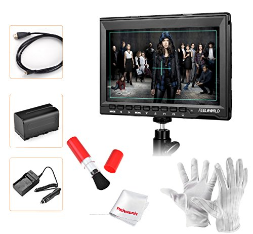 Feelworld FW759 7 inch Ultra HD 1280x800 IPS Screen Camera Field Monitor with NP-F970 Rechargeable Li-ion Battery