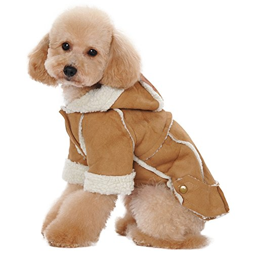 Albabara British Style Cozy Dog Winter Coat Pet Hooded Clothes Snowsuit Apparel Cold Weather Warm Faux Suede Shearling Fabric Dog Jacket for Small Medium (Suede Dog Coat Jacket Clothes)