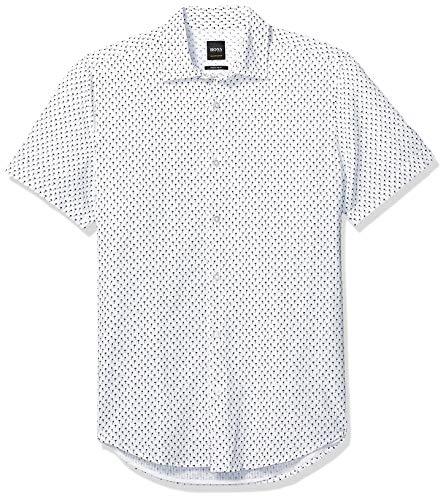 BOSS Orange Men's Rash Short Sleeve Button Down Regular Fit Shirt, Natural M