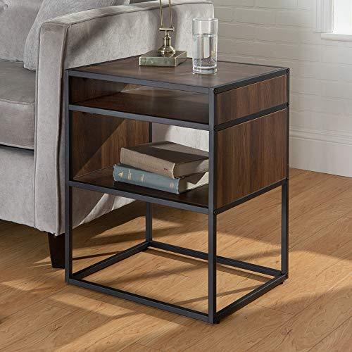 Walker Edison Industrial Modern Metal Frame Wood Rectangle Side Accent Set Living Room Storage Shelf End Table, Walnut Brown (And Furniture Metal Wood)