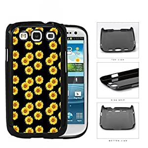 Cute Sunflowers With Black Background Hard Plastic Snap On Cell Phone Case Samsung Galaxy S3 SIII I9300