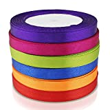 OCR ® Assorted Curling Satin Ribbon Wide 10mm 25YD Grosgrain Roll Ribbon for Wedding Party,Gift Wrap,Hair Bows, Floral Projects Making Craft DIY Decoration Accessory 6pcs (25YD-Deep color)