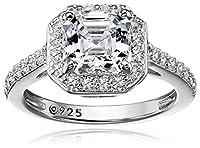 Platinum-Plated Sterling Silver Swarovski Zirconia Asscher Center Halo Ring (1.5 cttw)
