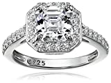 Platinum-Plated Sterling Silver Swarovski Zirconia Asscher Center Halo Ring (1.5 cttw)