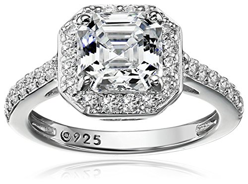 Platinum-Plated Sterling Silver Halo Ring set with Asscher Cut Swarovski Zirconia (1.5 cttw), Size 5