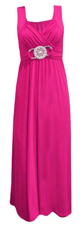 L, Cerise New Womens Plus Size Tie Back Long Evening Buckle Max 4-22